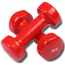 Гантели обливные с виниловым покрытием INDIGO 2,0кг*2шт Красный