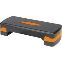 Степ-платформа для аэробики 2 уровня INDIGO 67*27*10/15 см Черно-оранжевый