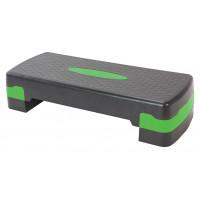 Степ-платформа для аэробики 2 уровня INDIGO 67*27*10/15 см Черно-зеленый