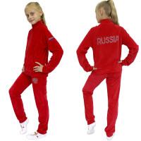 Спортивный костюм из велюра красный со стразами