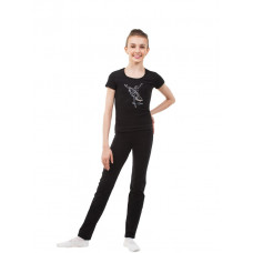 BA652.0 Черная футболка. Серебристая танцовщица