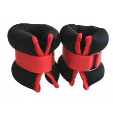CN003-150 Утяжелители на липучках для рук и ног 150грамм черные с красным