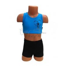 CN109 Топ голубой с изображением гимнастки